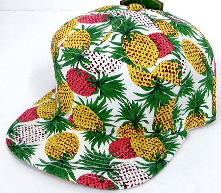 Blank 7 Panel  Hats/Caps Wholesale -  Pineapple White