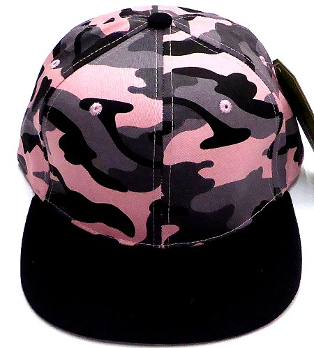 Wholesale Blank Snapback Caps - Pink Camo Black