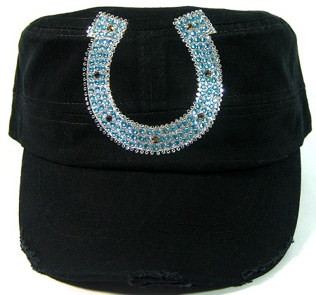 Rhinestone Glitter Horseshoe Bling Distressed Cadet Hats Wholesale - Black / Blue