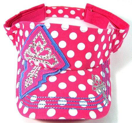 Rhinestone Bling Polka Dots Cross Visors Wholesale - Hot Pink
